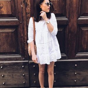 6e3b998a058 Zara Dresses - Zara blogger fav white embroidered jumpsuit dress